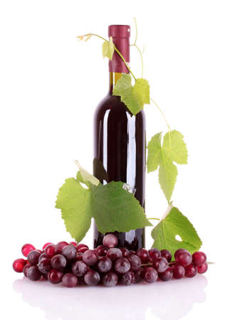 Wine bottle and grapes isolated on white Stock Photo - 9714905