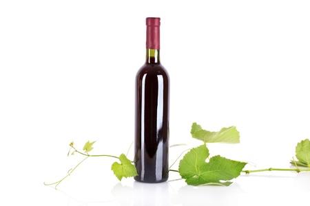 Bottle with wine isolated on white Stock Photo - 9784729