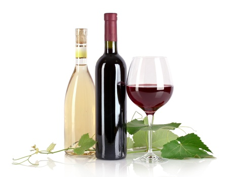 Bottle and glass with wine isolated on white Stock Photo - 9784730