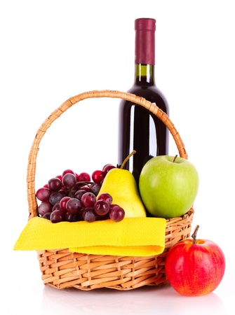 Wine and fruits isolated on white Stock Photo - 9784770