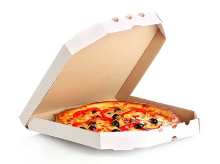 Pizza en cuadro aislado en blanco Foto de archivo - 9784745