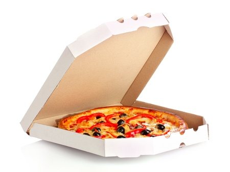 pizza in box isolated on white photo