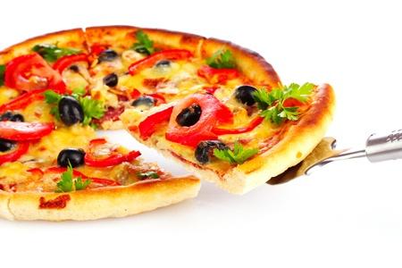 pizza: Sabrosa pizza aislados en blanco Foto de archivo