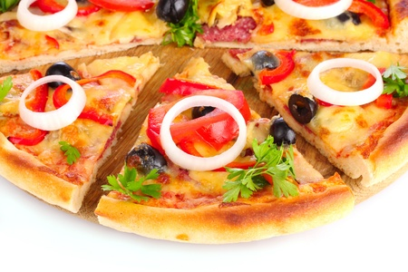 pizza on a wooden stand photo