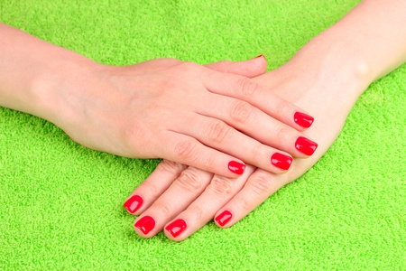 Beautiful hands with red manicure Stock Photo - 9785292