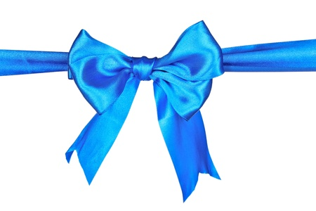 reward: Blue ribbon and bow isolated on white background