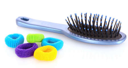 scrunchy: Hairbrush and Scrunchy isolated on white Stock Photo
