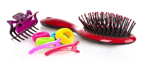 scrunchy: Hairbrush, barrette and Scrunchy isolated on white