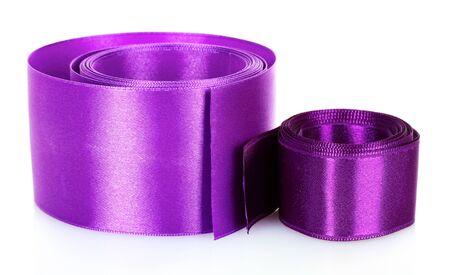 beautiful purple satin ribbon isolated on white photo