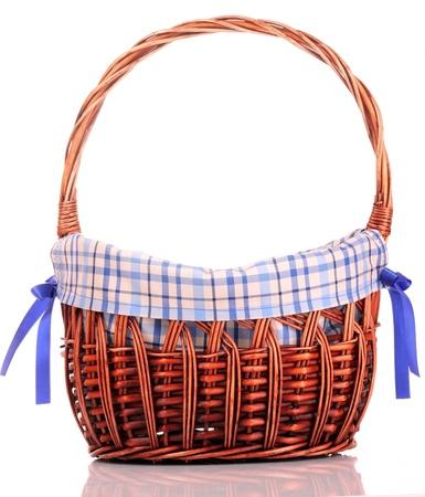 interleaved: empty Wicker basket isolated on white Stock Photo