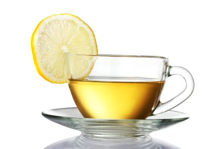 cups of tea: green tea with lemon isolated on white