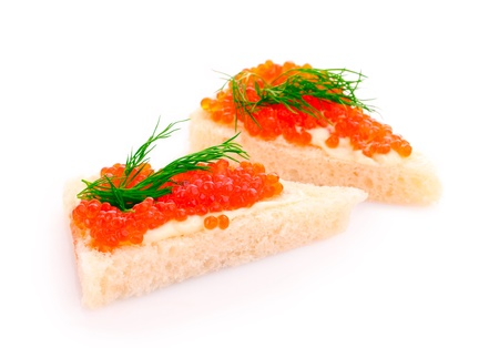 caviar: Red caviar and bread isolated on white