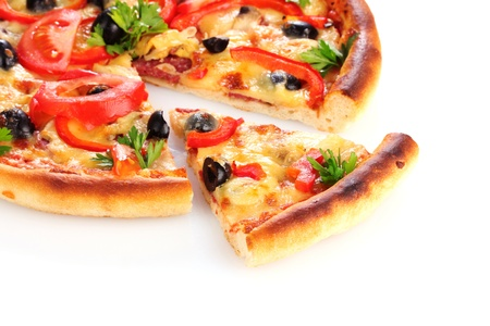 rebanada de pizza: Pizza aislado en blanco