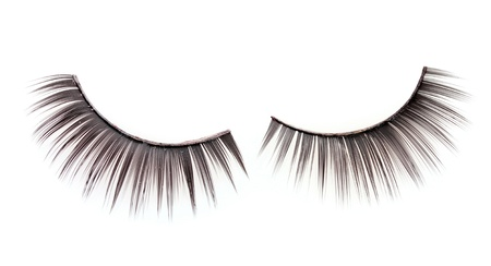 false eyelashes isolated on white photo
