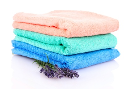 terry towels and lavender isolated on white Stock Photo - 9979994