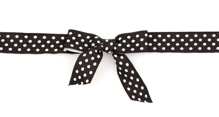 black ribbon bow: black ribbon with dots isolated on white Stock Photo