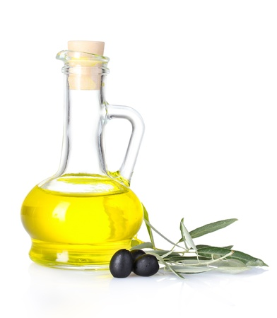 olive oil and olives isolated on white Stock Photo - 10068138