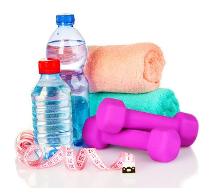 towel, dumbbells and water bottle isolated on white Stock Photo - 10068271