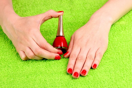 Beautiful hands with red manicure Stock Photo - 10068283