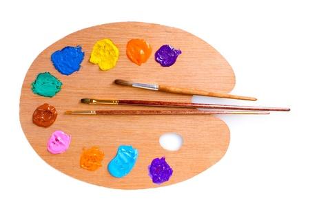 paleta de pintor: paleta de colores aislados en blanco