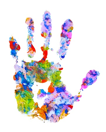 color hand print on white isolated photo