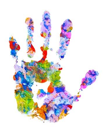 empreinte de main: impression sur fond blanc isol�e de couleur main