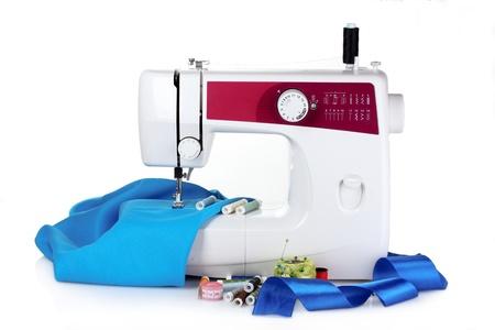 maquinas de coser: m�quina de coser y tejido aislado en blanco