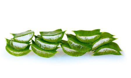 chopped leaf aloe vera isolated on white photo