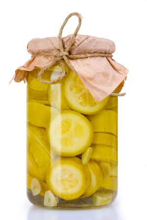 cymbling: glass with canned squash isolated on white Stock Photo