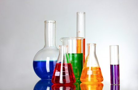 test tubes in the laboratory on a gray background Stock Photo - 10249252