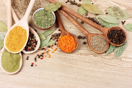 spices in the spoons on wooden background Stock Photo - 10249772