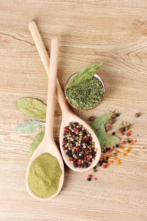 parsley: spices in the spoons on wooden background