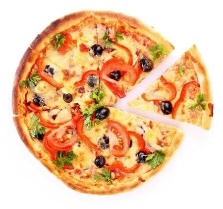 pizza: la pizza rodajas aislado en blanco Foto de archivo