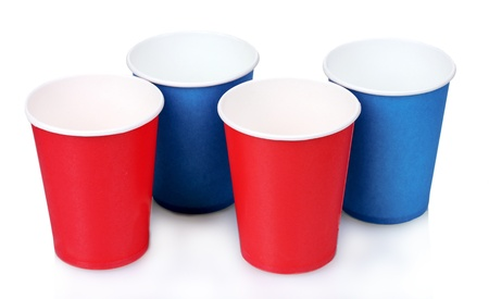 blue and red plastic cups isolated on white photo