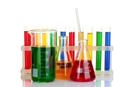 yellow yellow lab: test tubes with colorful liquids isolated on white Stock Photo