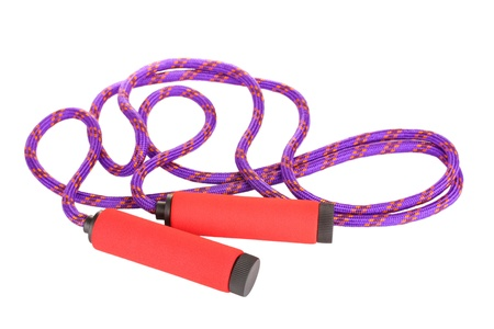 fitness equipment: skipping rope isolated on white