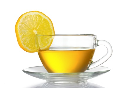 tea hot drink: green tea with lemon isolated on white
