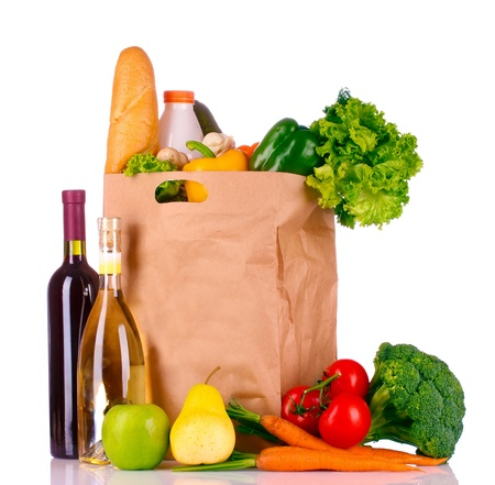wine and food: paper bag with vegetables and food isolated on white