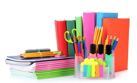 bright stationery and books isolated on white Stock Photo - 10310163