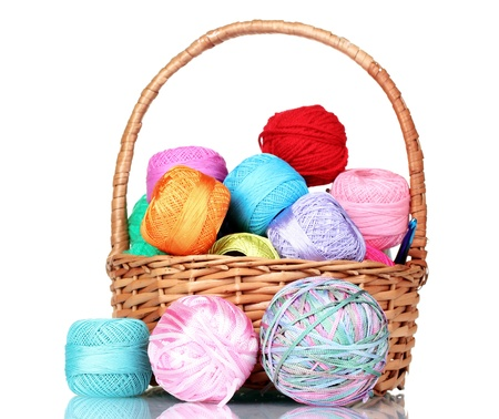 acrylic yarn: bright balls of  thread in basket isolated on white
