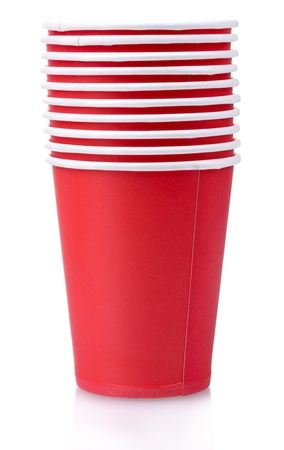 disposable: red plastic cups isolated on white