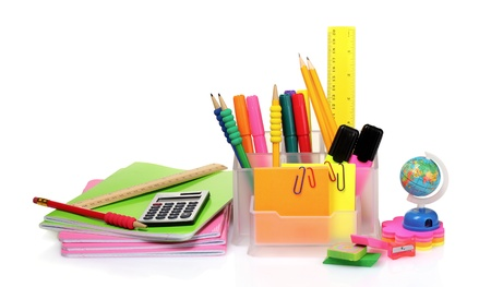 pencils and pens in holder and the line isolated on white photo