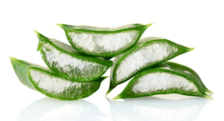 chopped leaf aloe vera isolated on white photo
