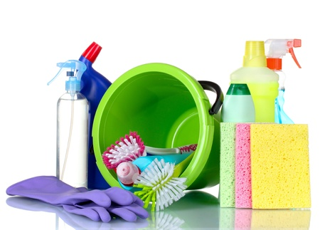 house clean: detergent bottles, brushes, gloves and sponges in bucket isolated on white