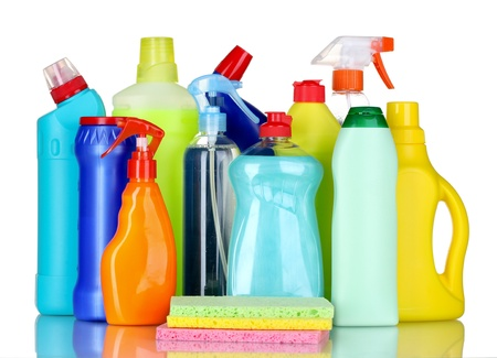 plastic container: detergent bottles and sponges isolated on white Stock Photo