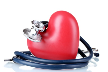 의학: 흰색에 고립 된 의료 청진 기 및 심장