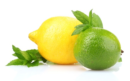 with lemon: fresh lime, lemon and mint isolated on white