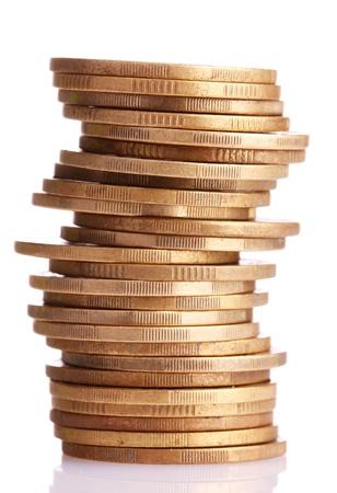 錢: 黃金硬幣孤立的白色。烏克蘭硬幣