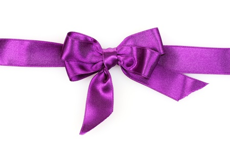 purple ribbon isolated on white photo