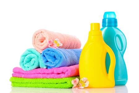 Detergent and towels isolated on white Stock Photo - 10394965